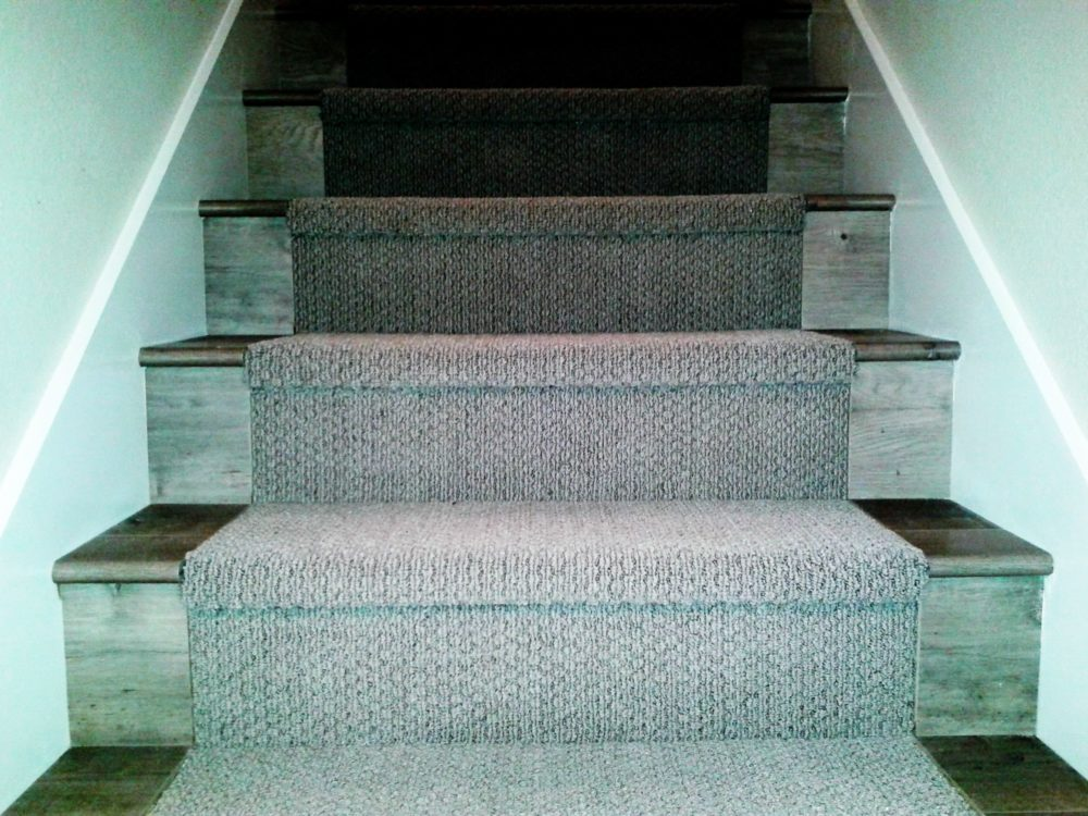 Restored stair with a new carpet run and side wooden panels, Walnut Creek, CA