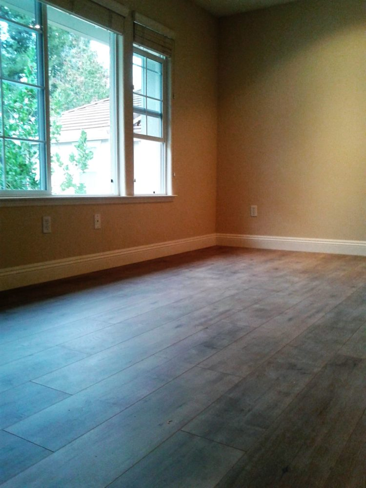 New engineered floor installed after removal of old carpet in Walnut Creek.