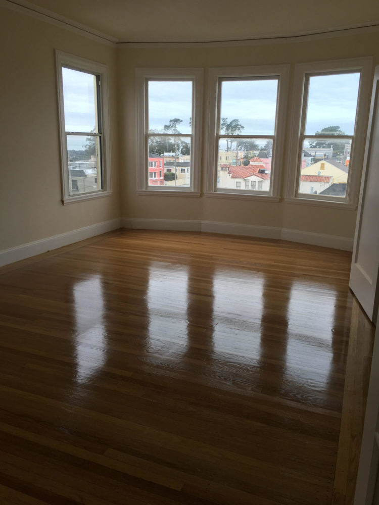 Refinished hardwood floor with a glossy finish. San Francisco.